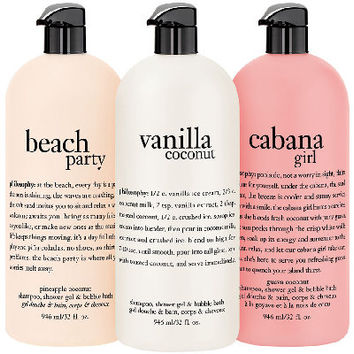 philosophy summer escape to the beach 32 oz shower gel trio - A270536 — QVC.com