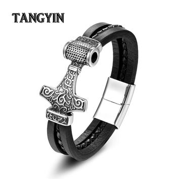 Charms Male Leather Anchor Bracelets Silver Wolf Raytheon Hammer Stainless Steel  Punk Style Fashion Jewelry Men FreeShipping