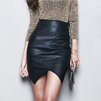Asymmetric Short Leather Skirts Women Sexy Slim Thin Package Hip Waist Pencil Skirt