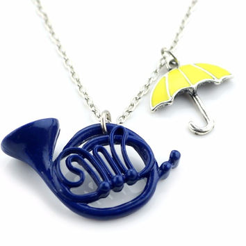 New How I Met Your Mother The Blue French Horn Necklace Pendant yellow umbrella with Silver Chain TV Jewelry women jewelry
