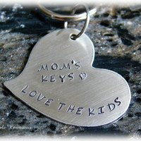 Engraved Tilted Heart Keychain - Nickel Silver