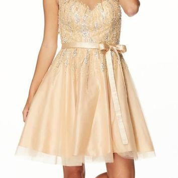 Sheer Sequins Bodice Cocktail Dress jul#776 Prom dress