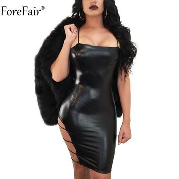 ForeFair Sexy Side Cut Out Sling Strapless Bodycon Club Party Dress Black Sheath Shiny PU Leather Dress Women