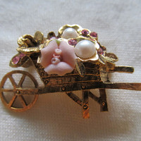 1928 Floral Wheelbarrow Pin
