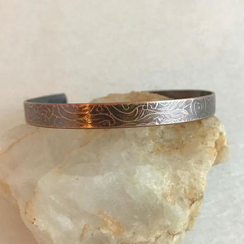 Copper Floral Embossed Bracelet, thin adjust cuff rustic textured aged climb hiking camping jewelry woman gift for her unisex