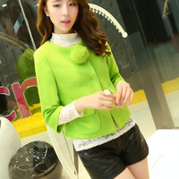 Women : Cute Cashmere Short Sleeved Jacket YRB0420