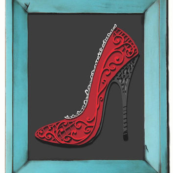 Red High Heel Stiletto Art Print -- 8x10, customizable, 3d, feminine, filigree, shoe, lace, lady, boudoir, vanity, pink, heels, paper