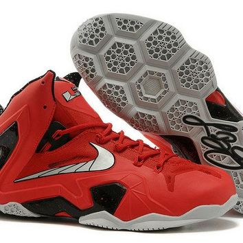 2018 Official LeBron 11 Elite SE University Red Metallic Silver Against Pacers Brand sneaker