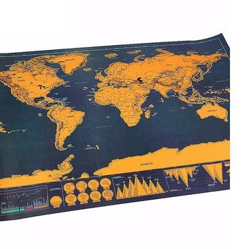 Portable Travel Scratch Off Maps Traveler Foil Layer Coating World Map