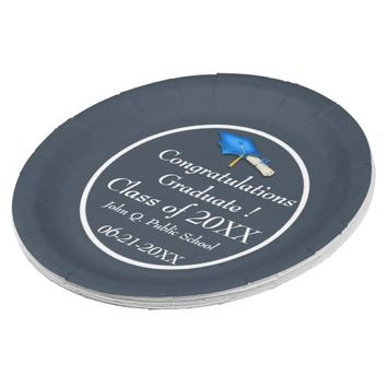 Blue with White Graduation Paper Party Plates 9 Inch Paper Plate