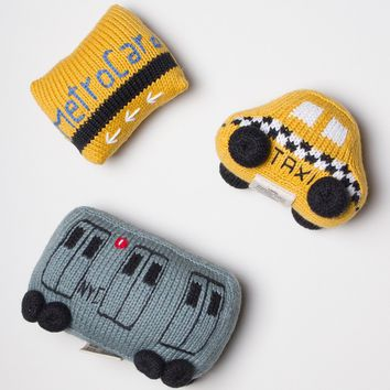 New York City Baby Gift Set - Organic Newborn Toy Rattles | Taxi, Metro Card, & Subway Train