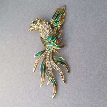 Large Gorgeous 1980's Vintage Enamel & Pave' Rhinestone Tropical Bird Pin