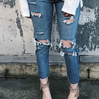 Boyfriend Distressed Crop Jean