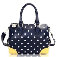 Contrast Color Polka Dots Hardware Purse Shoulder Hand Bag