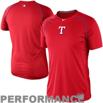 Nike Texas Rangers Pro Combat Core Raglan Performance T-Shirt - Red