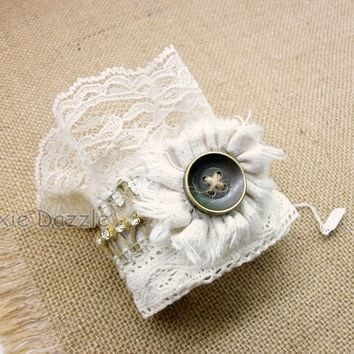 Tattered lace rose and burlap cuff bracelet with brass button and rhinestones, bridal jewelry