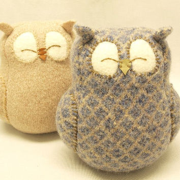 Sleepy Owl Blue Grey and Beige Felted Wool Home by ForMyDarling