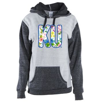 Official NCAA University of Kansas Jayhawks - KSFLRL Unisex Color Block Kangaroo Pocket Pullover Hoodie