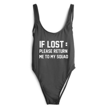 DCCK7XP If Lost :Please Return To My Squad' One Piece Swimsuit
