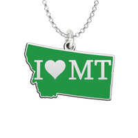 I Love Montana Sterling Silver State Shape Necklace