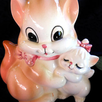 Vintage Lefton Adorable Cat and Kitten Planter