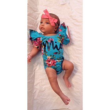 Aqua Floral Ruffle Sleeve Custom Name Onesuit - Mia Grace Designs