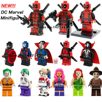 Single sale DC marvel avengers super heroes minifigures Red and white deadpool Classic Figures Collection Children Gift toys