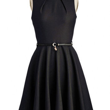 Sleeveless Sheath Belted A-Line Pleated Mini Dress