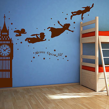 kik2803 Wall Decal Sticker Peter Pan fairy tale of Big Ben room children's bedroom