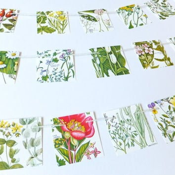 Mini Botanical Bunting, Small garland, flower bunting, wedding decor, floral garland, paper bunting, recycled banner, workspace decor