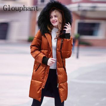Glouphant Vogue Hooded Fox Fur Parka Women Loose Women Winter Jacket Warm Women's Coats with Hood Thicken Female Parkas Outwear