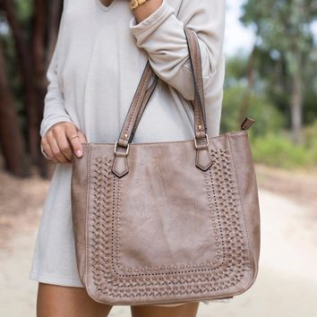 Rustic Road Tote Handbag In Taupe