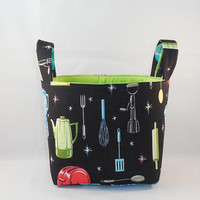 Cute Retro Kitchen Themed Fabric Basket For Storage Or Gift Giving