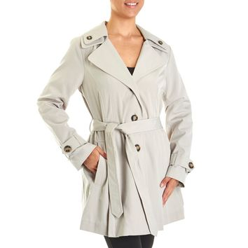 Hooded Raincoat with Tie Belt 110168741