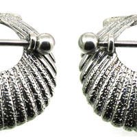 Body Accentz� Nipple Ring Sea Shell bar body Jewelry Pair sold as pair