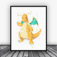 Dragonite Pokemon Go Art Print Poster