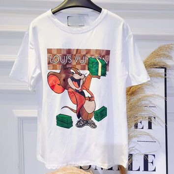 LV summer han version of the new fashion cute cartoon mouse printed pure cotton short sleeve T-shirt women's blouse