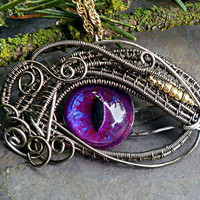 Gothic Steampunk Sable Evil Eye Bright Purple by twistedsisterarts