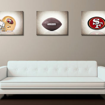 Discount set of 3 San Francisco 49ers photo print,boys room decor,kids room decor,San Francisco 49ers decor,football,San Francisco 49ers