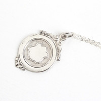 Vintage Silver Fob Charm Necklace - Antique Early 1900s Oval Shield Motif Repousse Designs Pendant Jewelry on Sterling Silver Chain
