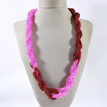 Pink And Red Color Block Unique Twisted Beaded Necklace