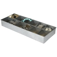 12 Section Tin Jewelry Organizer / Desk Drawer Tray (Tin)