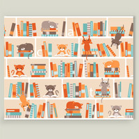 LIbrary cats Art Print by heleenvanbuul on BoomBoomPrints