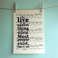 Oscar Wilde Inspirational Quote Typographic Art Print On Vintage Sheet Music | Luulla