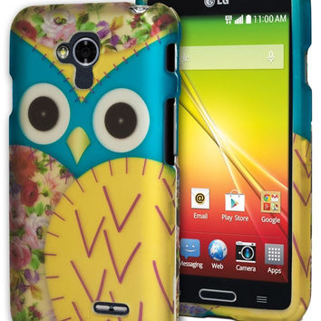 LG Optimus L70, Gold and Blue Rose Owl Design  Snap On Phone Case Cover