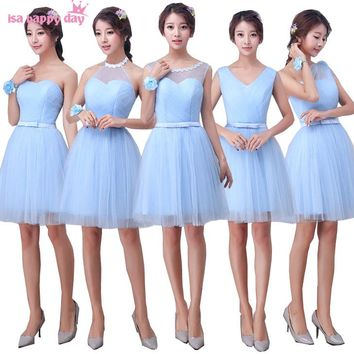 robe de soiree one shoulder corset back dress bridesmaid blue tulle brides maid dresses 2018 occasion short girls wedding H3945