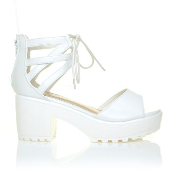 JENNER White PU Leather Lace Up Peep Toe Chunky White Sole Sandals