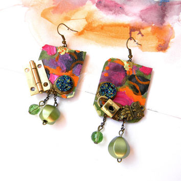 Colorful Hand Painted Dangle Earrings, Eclectic and Conceptual Art Jewelry with Light Green Beads, Paper, Charms and Brass Hinges