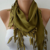 Etsy -  Olive Green Scarf -  Pashmina Scarf  - Headband Necklace Cowl with Lace Edge/76566961