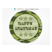 Military Army Camouflage Party Centerpiece Sign